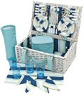 Coastal Stripe Picnic Basket, 4 Settings