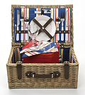 Premium Stripe Picnic Basket, 2 Settings
